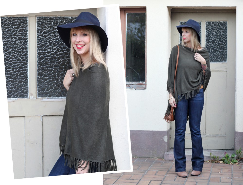 Outfit New Look Poncho Flared Jeans Hut 3