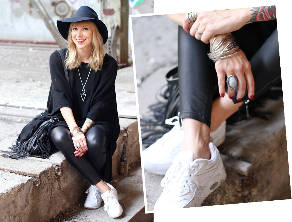 Outfit Poncho Hut C&A Lederhose Only Sneaker Deichmann Fransentasche Pieces 3
