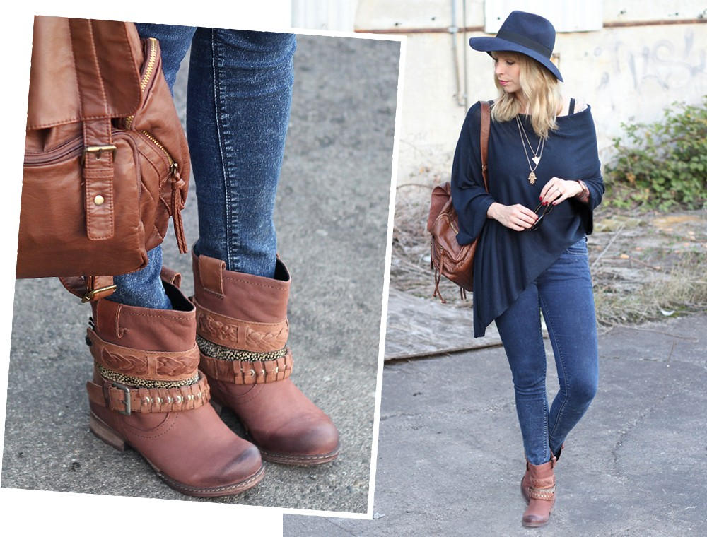 Outfit Poncho Otto Bullboxer Stiefel Casio Rosegold Rayban Rucksack 4