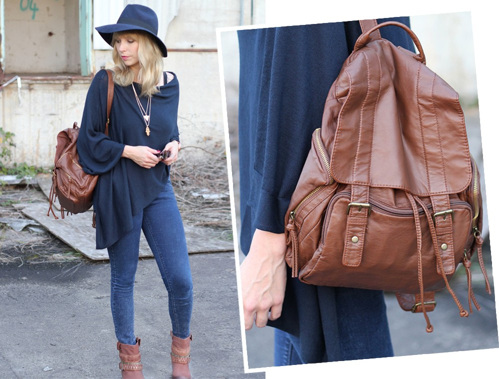 Outfit Poncho Otto Bullboxer Stiefel Casio Rosegold Rayban Rucksack 8