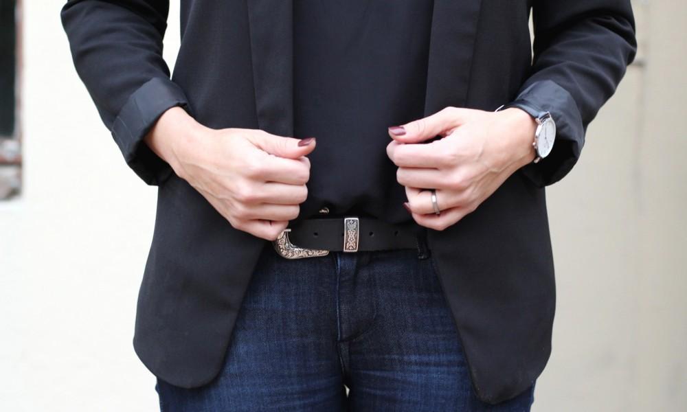 Outfit Schlagjeans Blazer Shirt Hut Fashionblogger Karlsruhe (50)