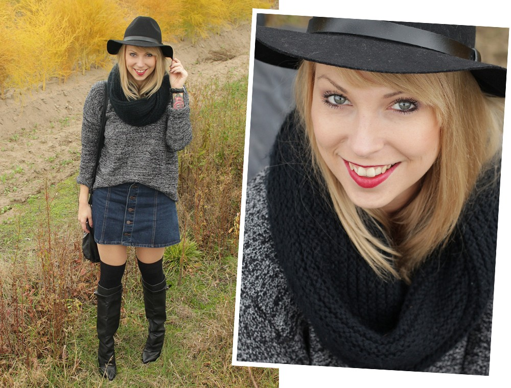 Outfit Fashionbloggerin Karlsruhe Jeansrock Knopfleiste Overknees Hut Strickpulli 1 (15)