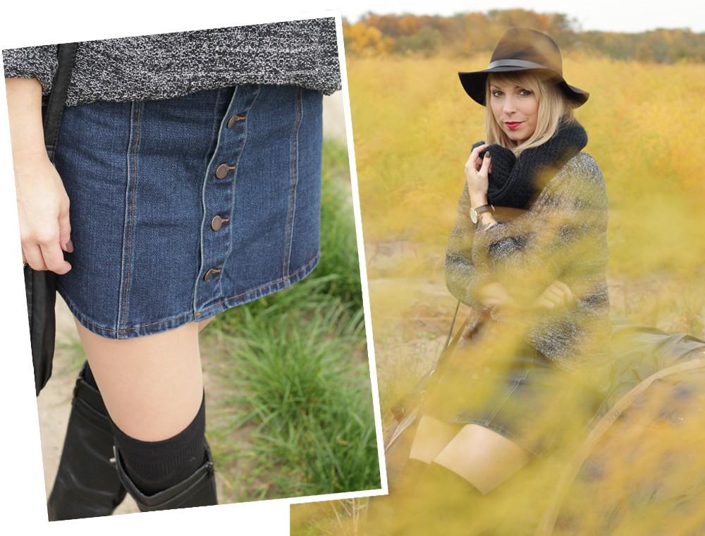 Outfit Fashionbloggerin Karlsruhe Jeansrock Knopfleiste Overknees Hut Strickpulli 1 (16)