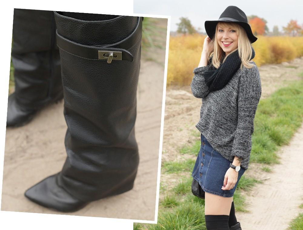 Outfit Fashionbloggerin Karlsruhe Jeansrock Knopfleiste Overknees Hut Strickpulli 1 (18)