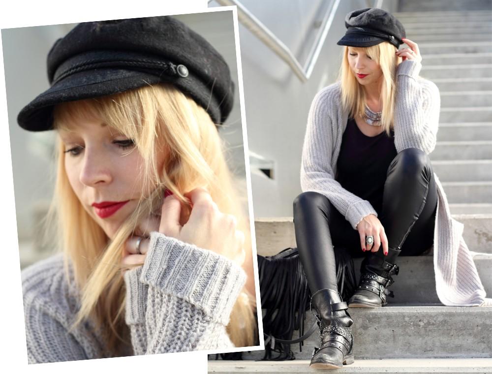 Fashionblogger München Outfit Longcardigan Strick Lederhose Bikerboots 1