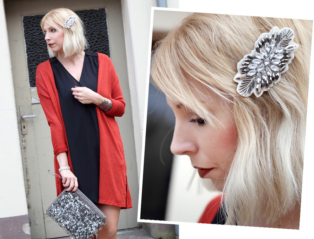 Fashionbloggerin Karlsruhe New Look Weihnachtsoutfit Kleid Pumps Pailettenclutch Cardigan 11