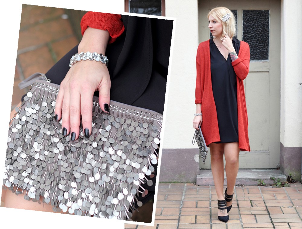 Fashionbloggerin Karlsruhe New Look Weihnachtsoutfit Kleid Pumps Pailettenclutch Cardigan 12