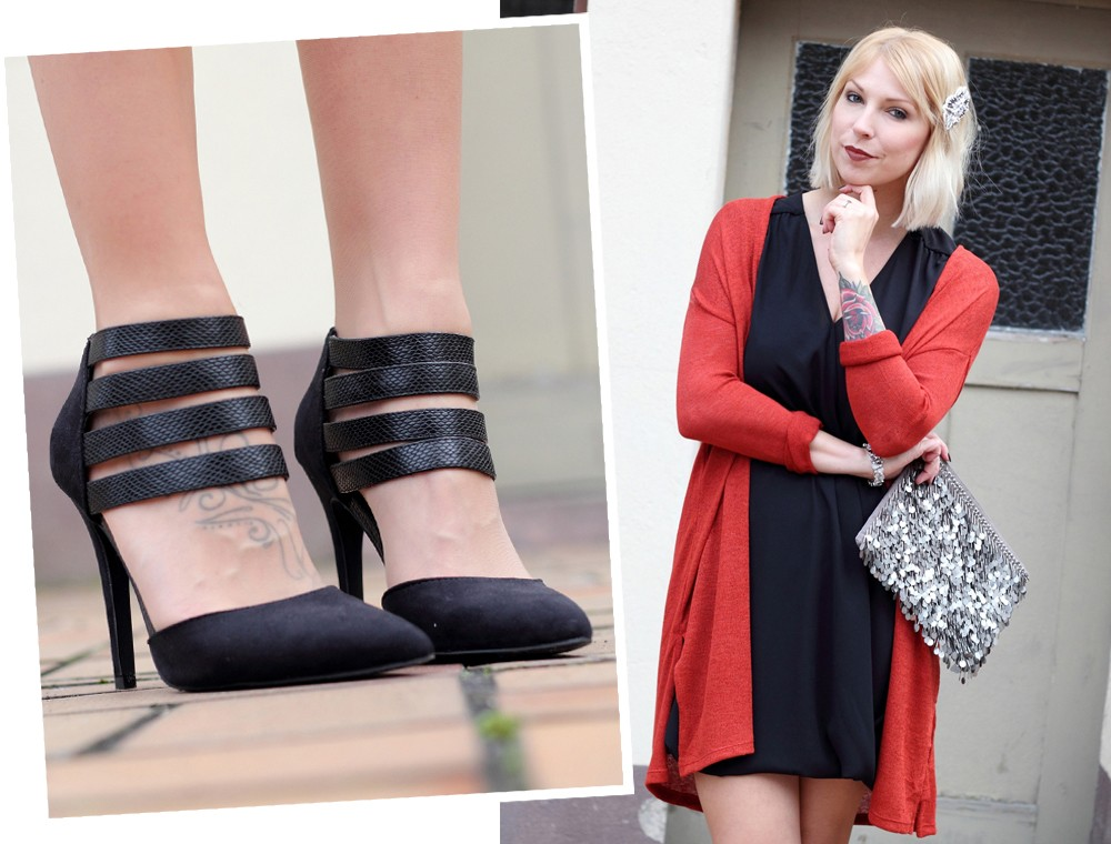 Fashionbloggerin Karlsruhe New Look Weihnachtsoutfit Kleid Pumps Pailettenclutch Cardigan 13