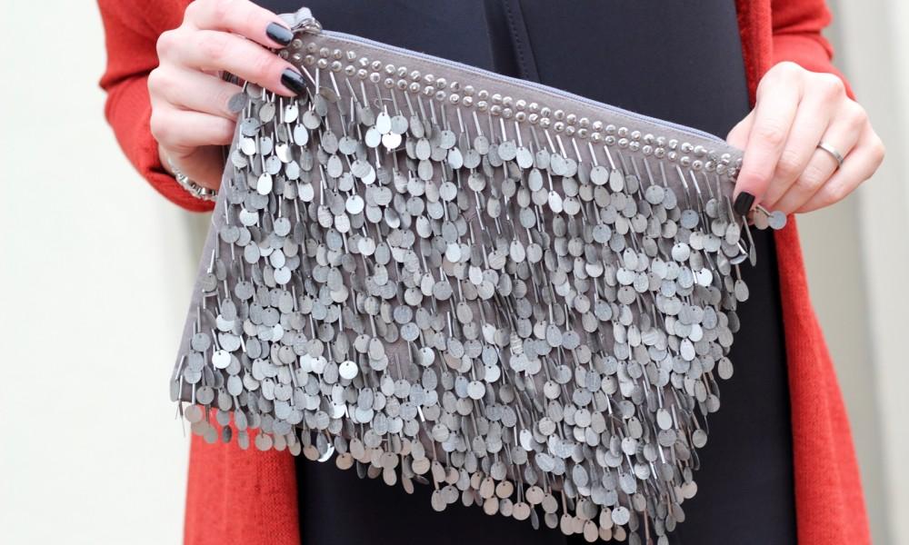 Fashionbloggerin Karlsruhe New Look Weihnachtsoutfit Kleid Pumps Pailettenclutch Cardigan 9
