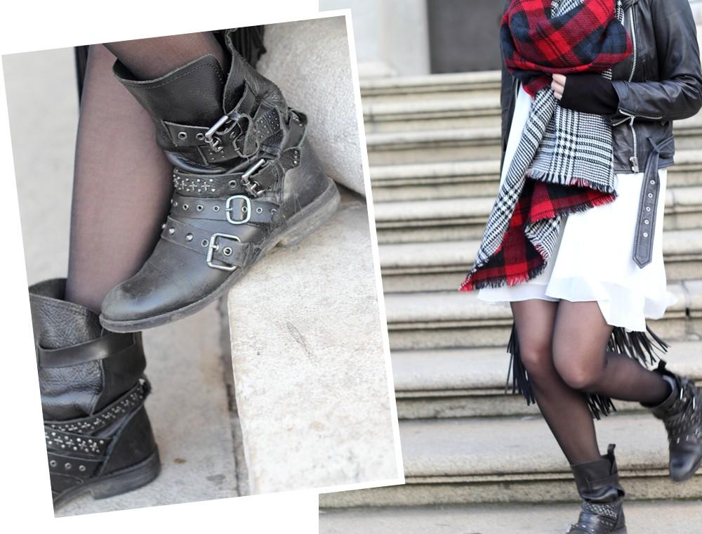 Fashionbloggerin Karlsruhe Outfit München weisses Kleid karierter Schal Lederjacke Hut Fransentasche 12