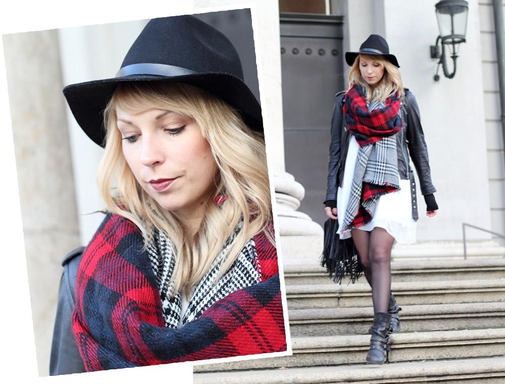 Fashionbloggerin Karlsruhe Outfit München weisses Kleid karierter Schal Lederjacke Hut Fransentasche 3