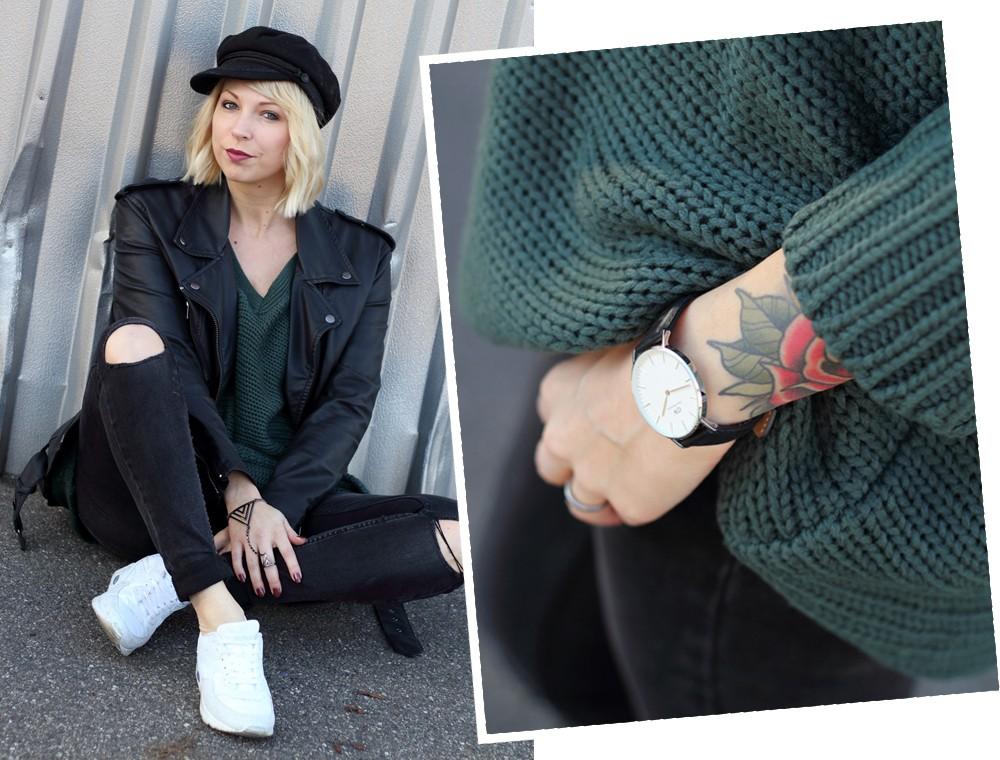 Outfit Vero Moda Strickpullover Jeans weisse Sneaker Mütze 1