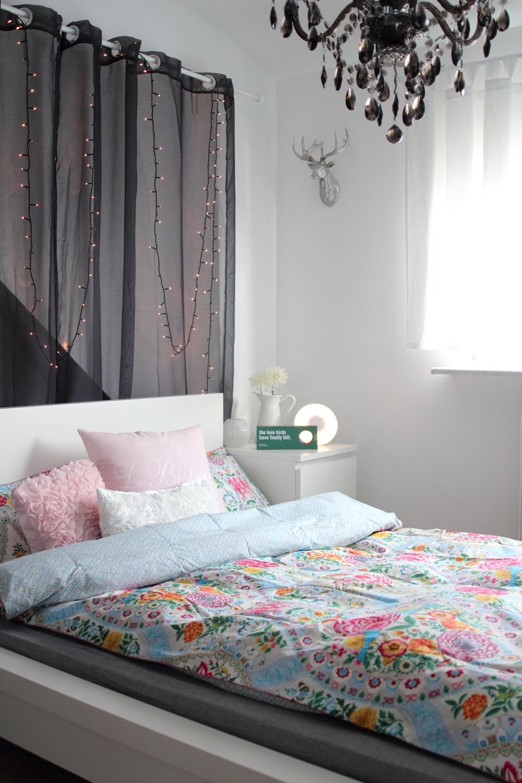Schlafzimmer Bettwäsche PiP Lichterkette Deko Living