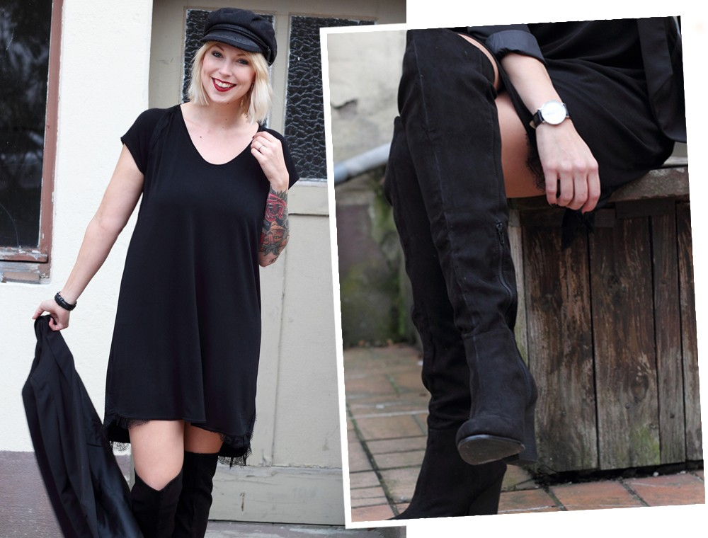 Fashionblogger Karlsruhe Outfit OOTD Kleid Blazer Overknees Mütze schwarz 1