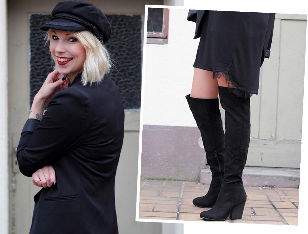 Fashionblogger Karlsruhe Outfit OOTD Kleid Blazer Overknees Mütze schwarz 10