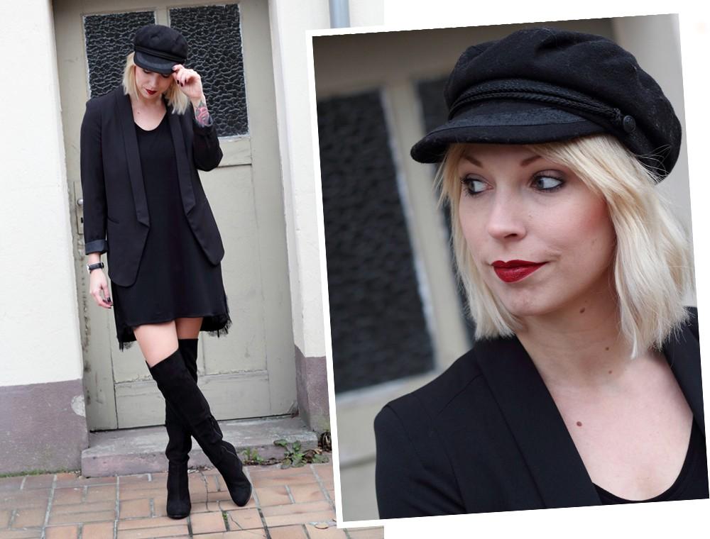 Fashionblogger Karlsruhe Outfit OOTD Kleid Blazer Overknees Mütze schwarz 8