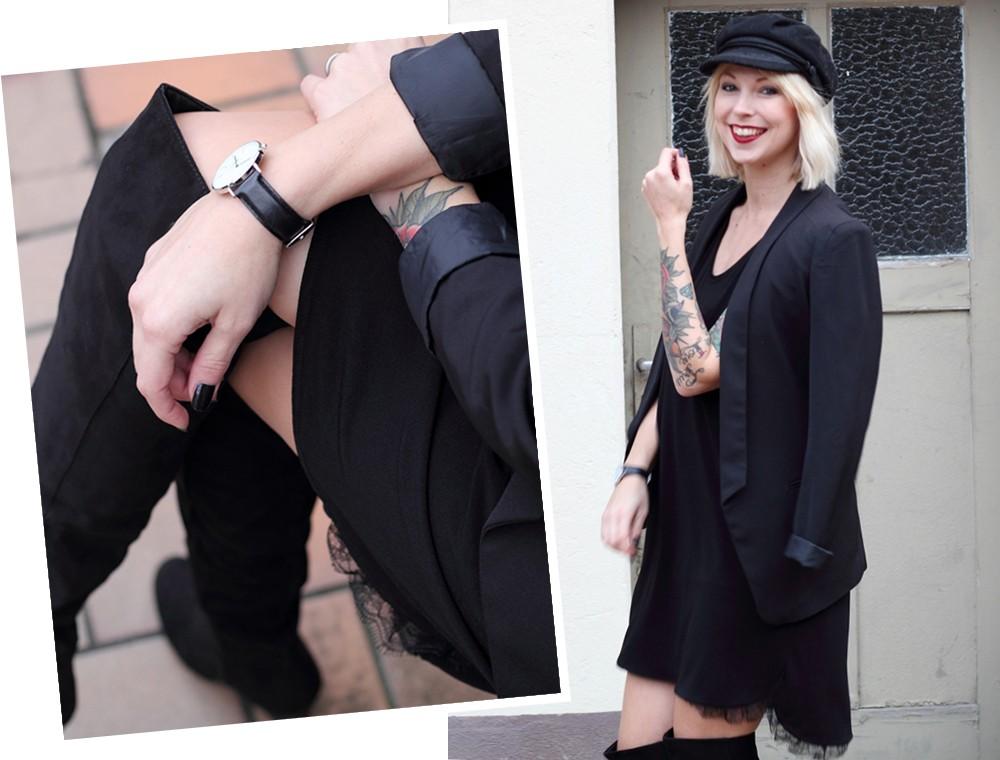 Fashionblogger Karlsruhe Outfit OOTD Kleid Blazer Overknees Mütze schwarz 9