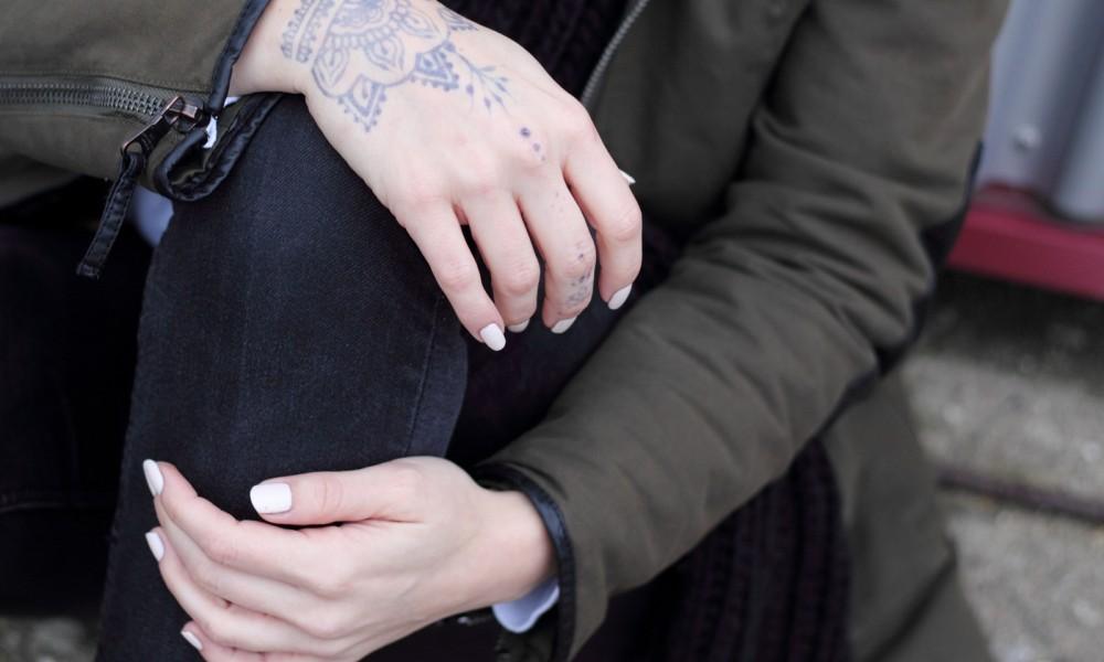 Fashionbloggeri Karlsruhe Outfit Parka Zara Henna Tattoo Jeans