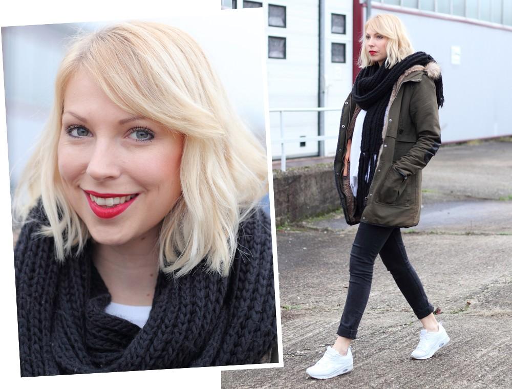 Fashionbloggeri Karlsruhe Outfit Parka Zara Sneaker Deichmann Jeans Sweater Schal