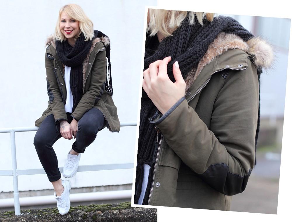 Fashionbloggeri Karlsruhe Outfit Parka Zara Sneaker Deichmann Jeans Sweater Schal 3