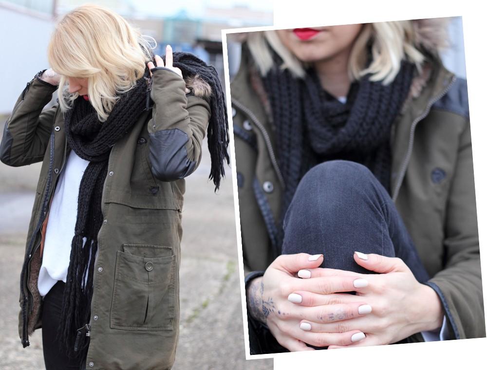 Fashionbloggeri Karlsruhe Outfit Parka Zara Sneaker Deichmann Jeans Sweater Schal 5