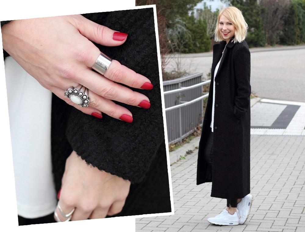 Fashionbloggerin Karlsruhe Outfit Lederhosen Sneaker Sweater langer Mantel 1