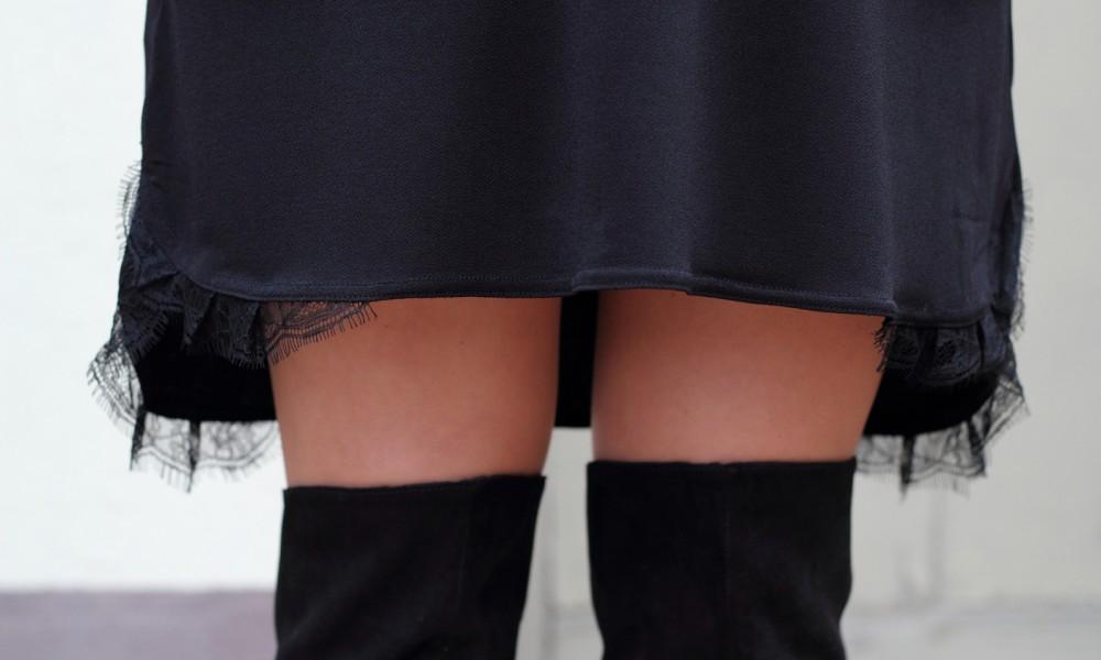 Kleid mit Spitze Mango Overknees H&M