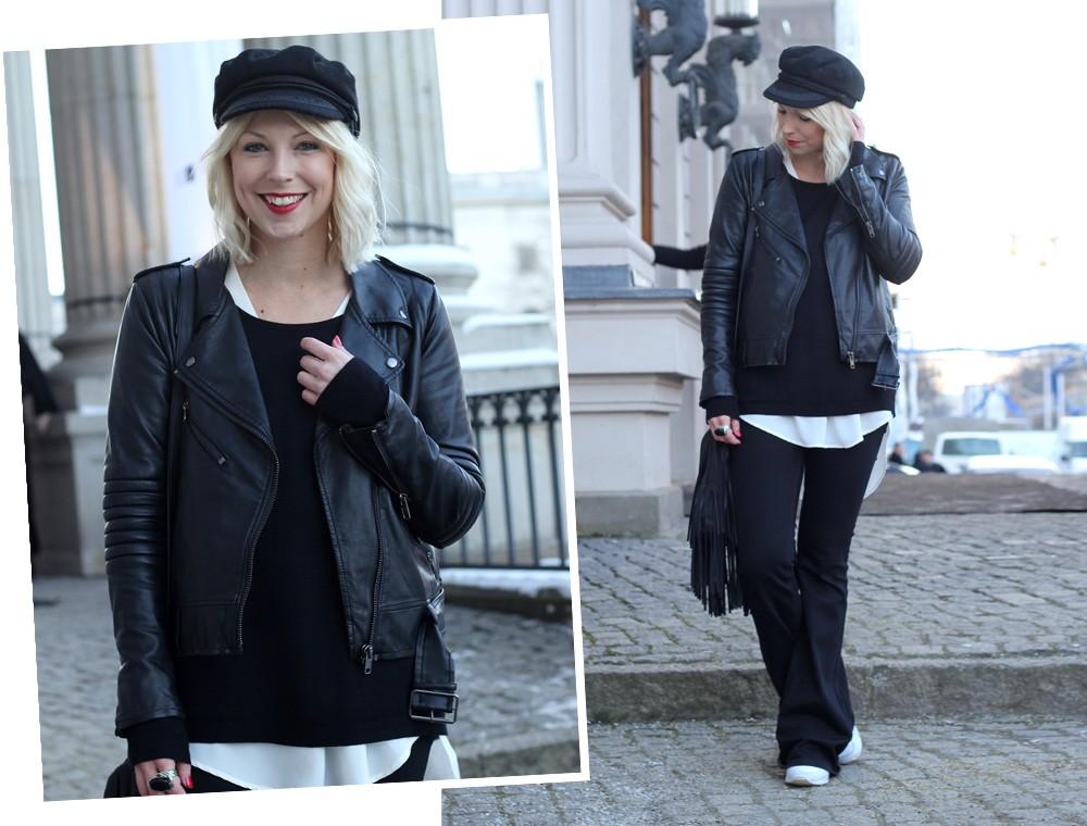 Outfit OOTD Berlin Fashion Week Flared Jeans Lederjacke Fransentasche Bakemütze 11