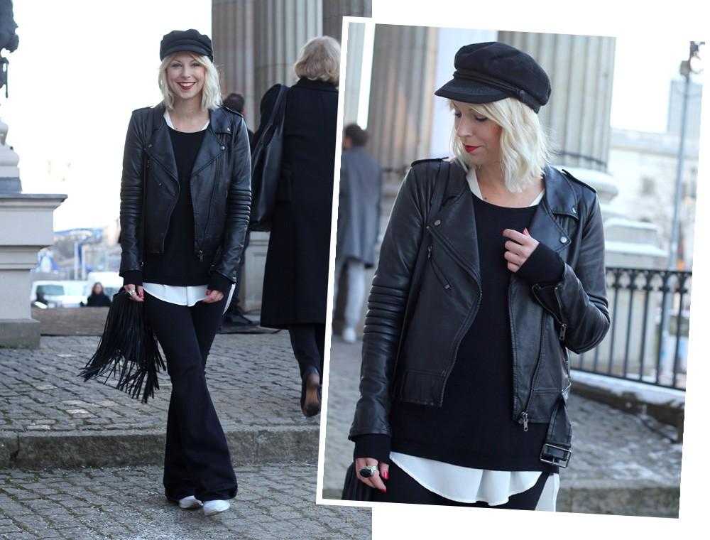 Outfit OOTD Berlin Fashion Week Flared Jeans Lederjacke Fransentasche Bakemütze 12