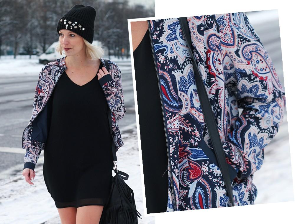 Streetstyle Berlin Outfit Fashionblogger Kleid Blousonjacke Fransentasche Beanie mit Glitzersteinen About You Sneaker Deichmann 8