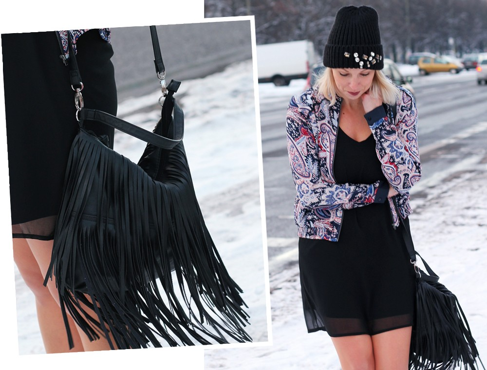 Streetstyle Berlin Outfit Fashionblogger Kleid Blousonjacke Fransentasche Beanie mit Glitzersteinen About You Sneaker Deichmann 9