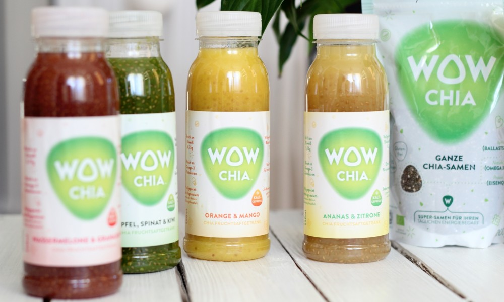 WowChia Fruchtsaftgetränke Sortiment und Ganze Chiasamen
