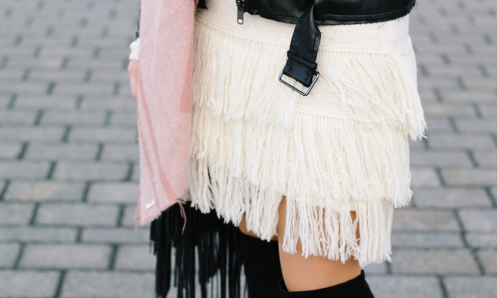 Fashion Week Berlin 2016 Outfit OOTD Fransen Strickkleid Lederjacke Overknees Schal Hut Fransentasche 19