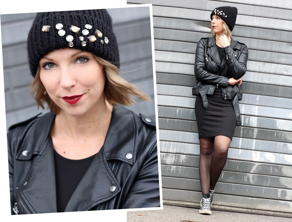 Outfit All in black Midikleid Lederjacke Chucks Beanie 2