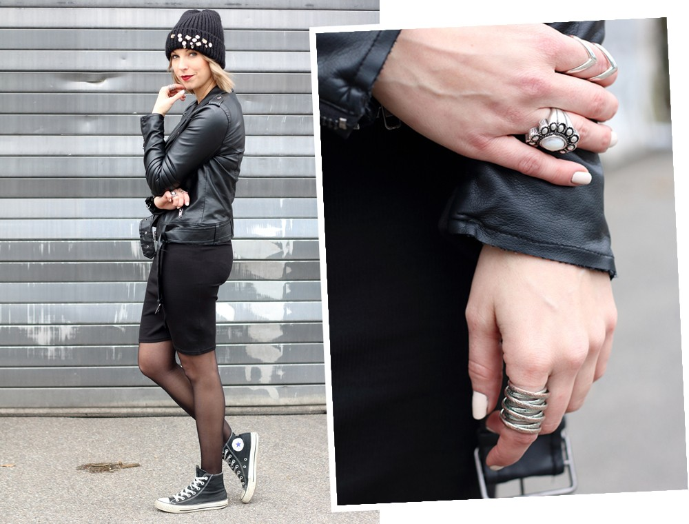Outfit All in black Midikleid Lederjacke Chucks Beanie 3