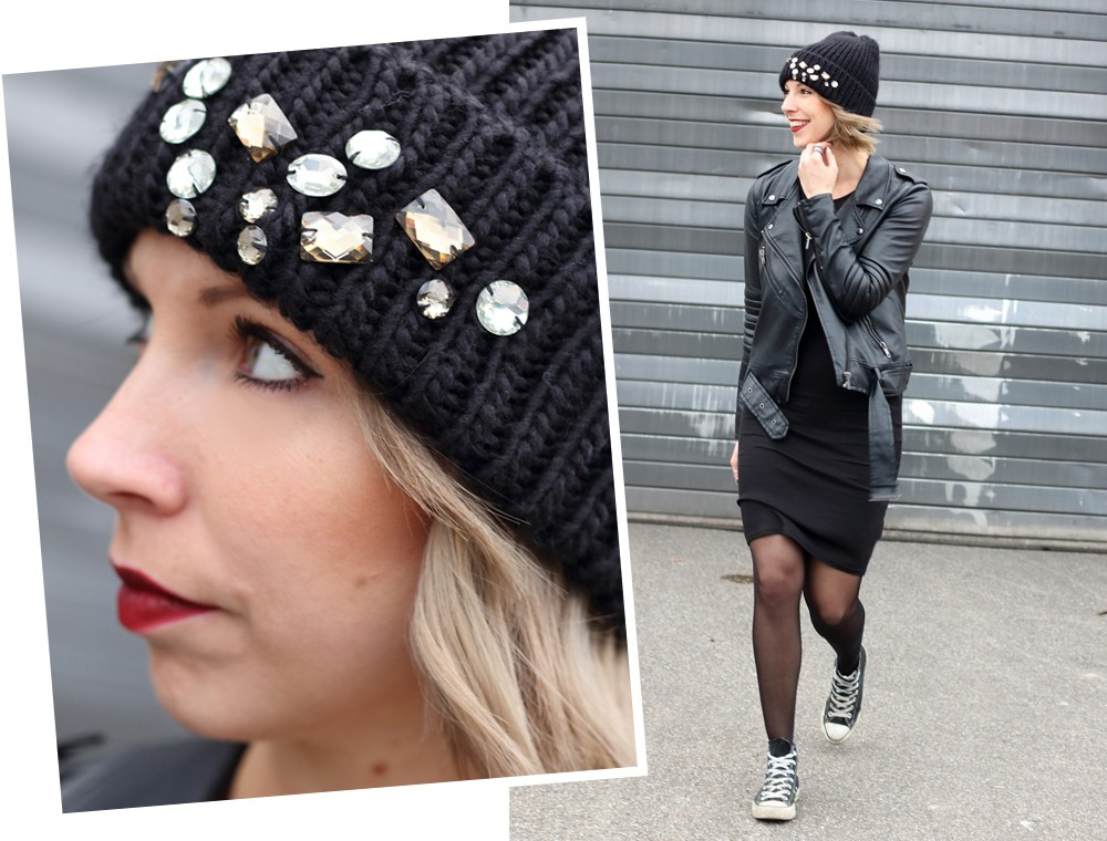 Outfit All in black Midikleid Lederjacke Chucks Beanie 4