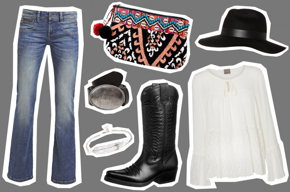 Cowboyboots Outfit Flared Jeans Bluse Hut Zalando