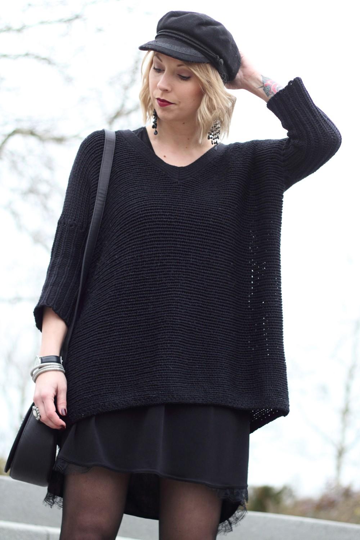 Outfit Stiefeletten Fransen Sacha Kleid Mango Sweater Noisy May Bakermütze 1 (13)