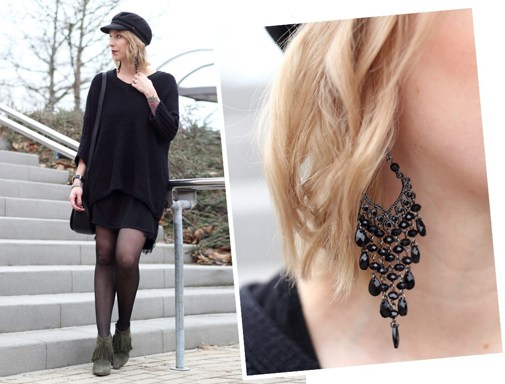 Outfit Stiefeletten Fransen Sacha Kleid Mango Sweater Noisy May Bakermütze 1 (16)