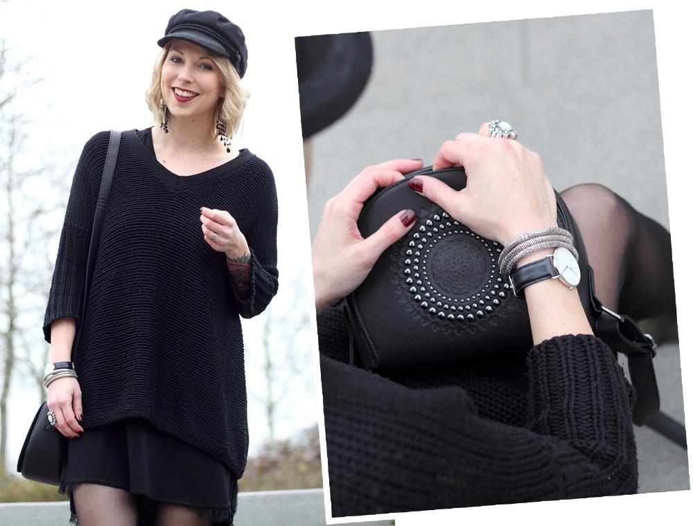 Outfit Stiefeletten Fransen Sacha Kleid Mango Sweater Noisy May Bakermütze 1 (17)