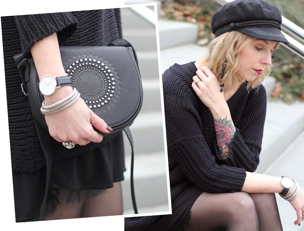Outfit Stiefeletten Fransen Sacha Kleid Mango Sweater Noisy May Bakermütze 1 (18)