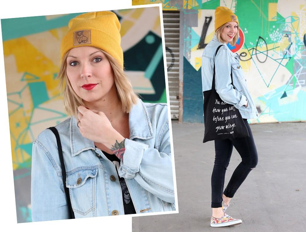 Fahionblogger Outfit Vans Disney Jeansjacke Beanie Fuchs Weebit (16)