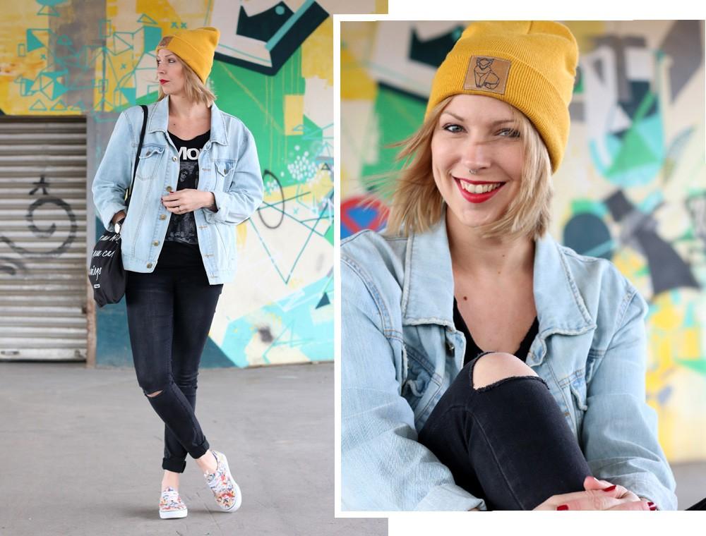 Fahionblogger Outfit Vans Disney Jeansjacke Beanie Fuchs Weebit (17)