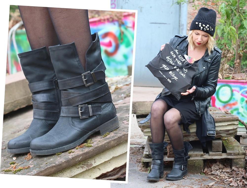 Fashionblogger Karlsruhe Outfit Kleid Lederjacke Bikerboots Beanie all in black (13)