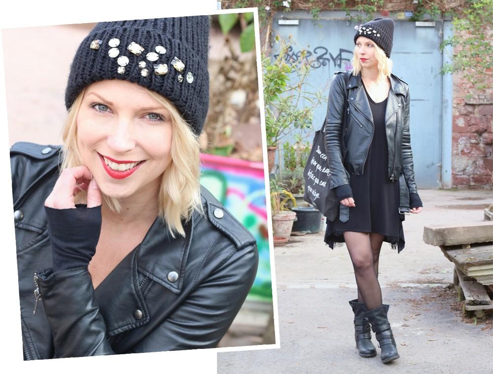 Fashionblogger Karlsruhe Outfit Kleid Lederjacke Bikerboots Beanie all in black (14)