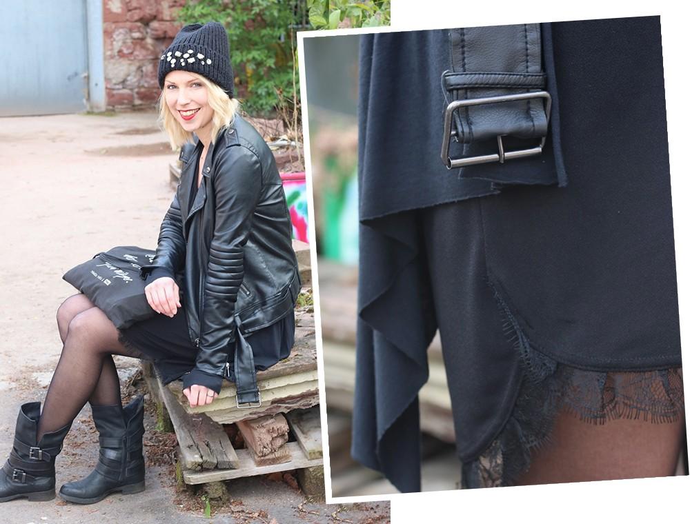 Fashionblogger Karlsruhe Outfit Kleid Lederjacke Bikerboots Beanie all in black (15)