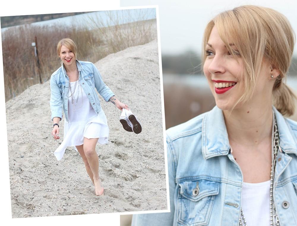 Fashionblogger Karlsruhe Outfit Strand weisses Kleid Jeansjacke Lederchucks (1)