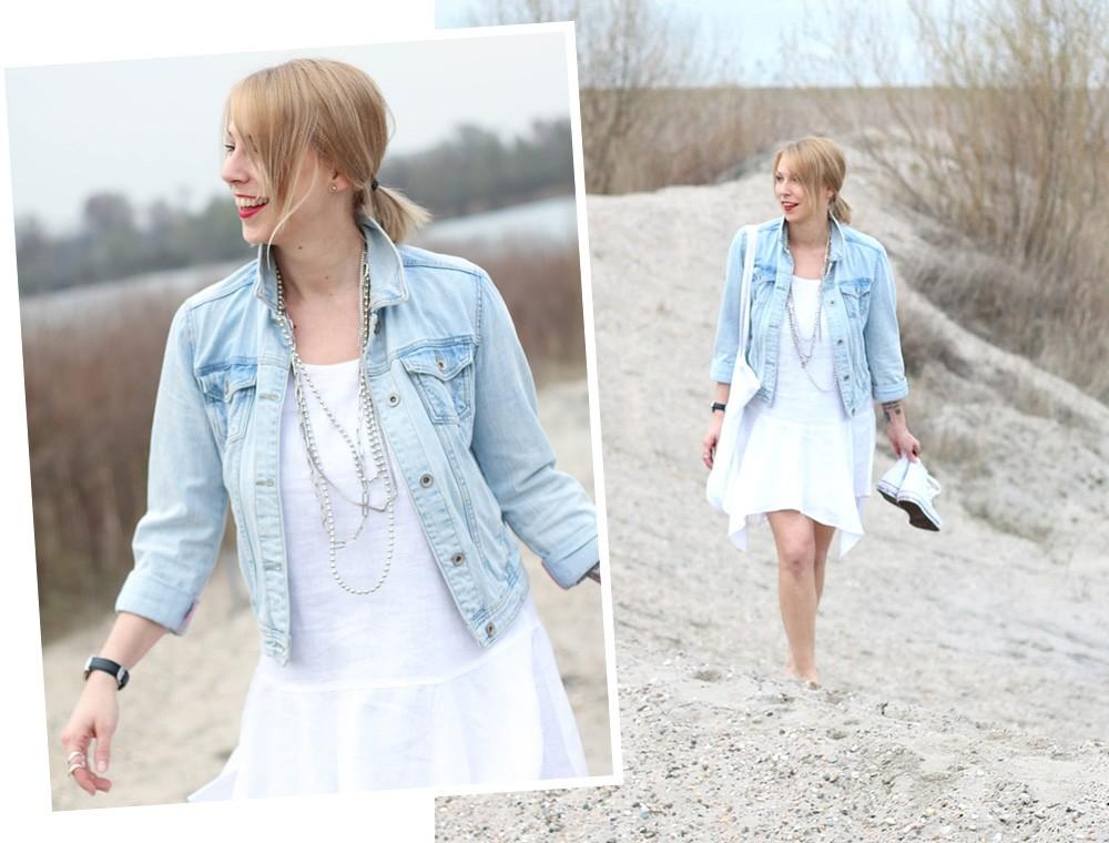 Fashionblogger Karlsruhe Outfit Strand weisses Kleid Jeansjacke Lederchucks (15)