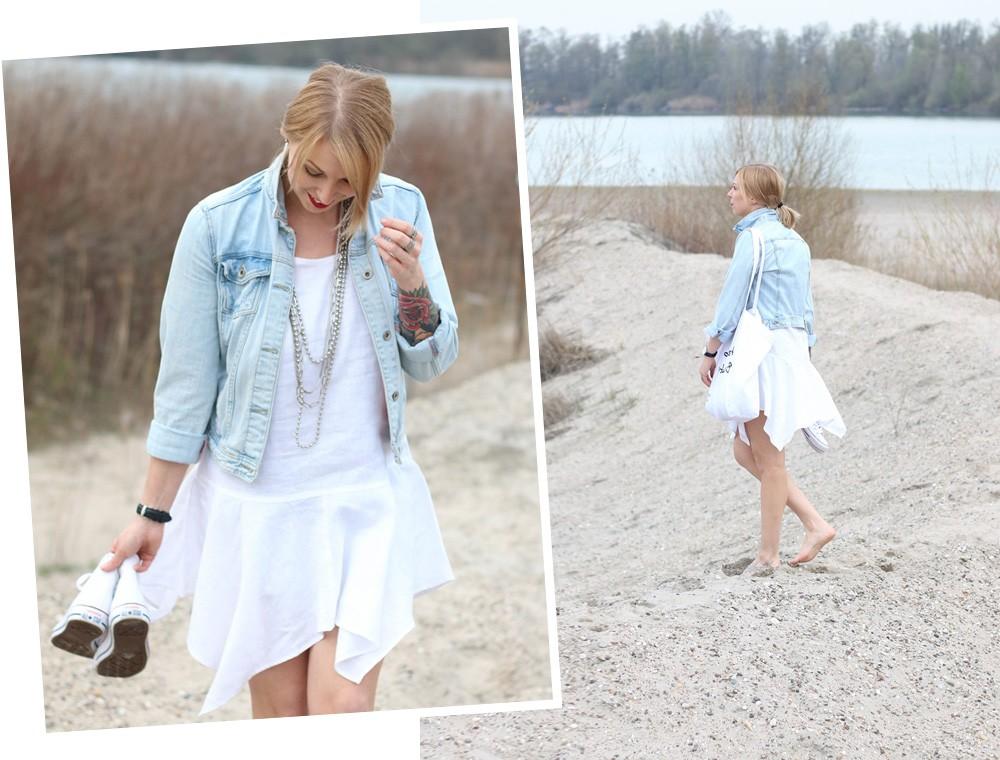 Fashionblogger Karlsruhe Outfit Strand weisses Kleid Jeansjacke Lederchucks (16)