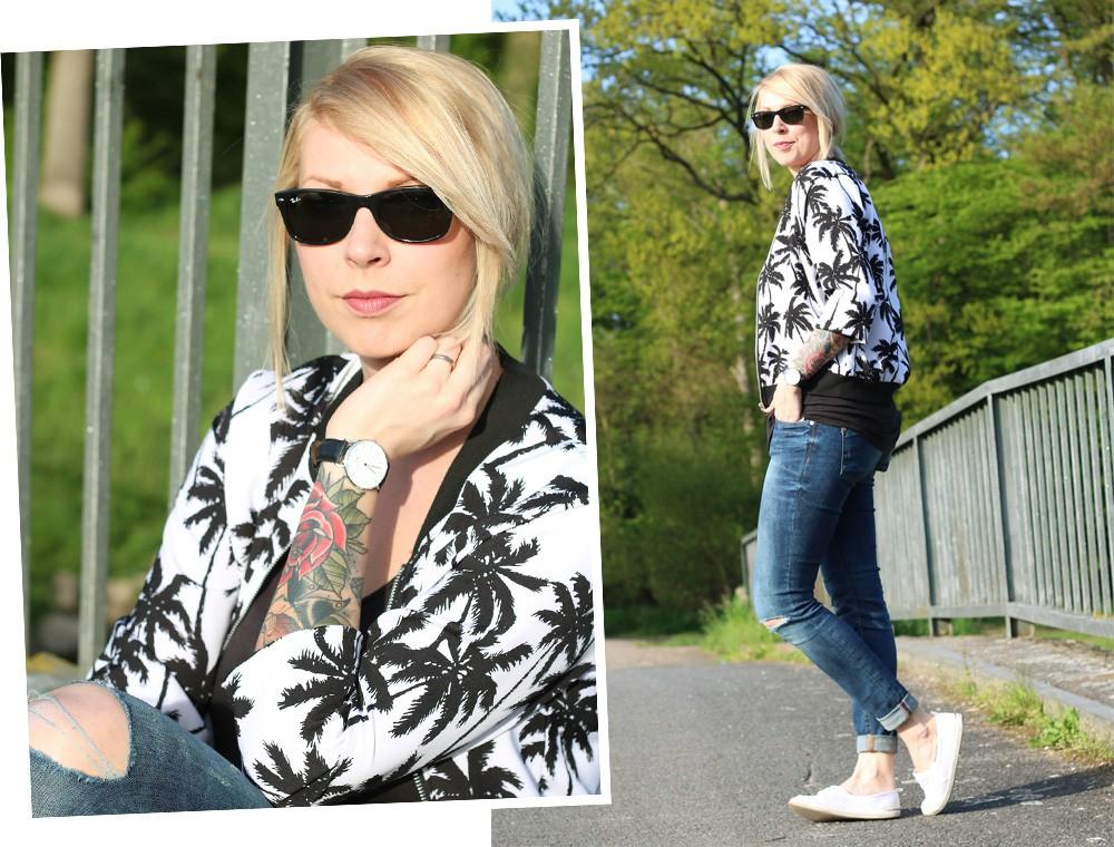 Fashionblogger Outfit Blousonjacke Palmen Jeans Sneaker Ray Ban New Wayfarer (15)